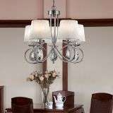Angelique Chrome 5 Light Ceiling Ruffled Shades