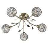 Bellis Ii 5  Light Semi-Flush Ceiling Light, Antique Brass With Clear Glass Deco Shades