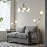 Bloom 2 Light Floor Lamp in Gold with Opal Glass