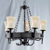 Cartwheel 5 Light Wrought Iron Fitting Complete With Glass