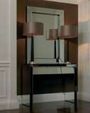 Corvina Walnut and Silver Plate Table Lamp with Shade