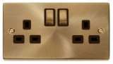 Deco 2Gang 13A Antique Brass Sw Socket Outlet Black Insert