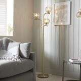 Dimple 3 Light Floor Lamp in Brushed Brass with Chapagne Glass