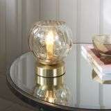 Dimple Table Lamp in Brushed Brass with Champagne Glass