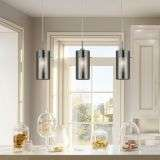Duo 2 3 Light Ceiling Bar With Smokey Outer Frosted Inner Glass Shades