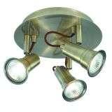 Eros 3 Loght Antique Brass Spotlight Disc Gu10