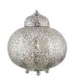 Fretwork Moroccan Style Table Lamp Shiny Nickel