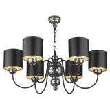 Garbo 6 Light Pendant Pewter complete with Black Silver Shades