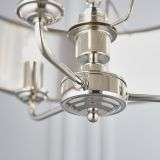 Highclere 3 Light Pendant in Bright Nickel C/W Charcoal Shade