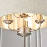 Highclere 3 Light Table Lamp in Brushed Chrome C/W Natural Shade