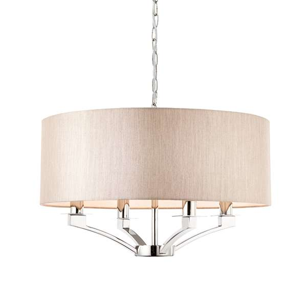 Endon Collection 70074 Vienna 4 Light Drum Pendant In Nickel Online Lighting Shop