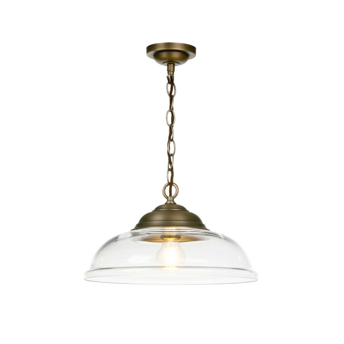 WEBSTER 1 light pendant clear glass with antique brass