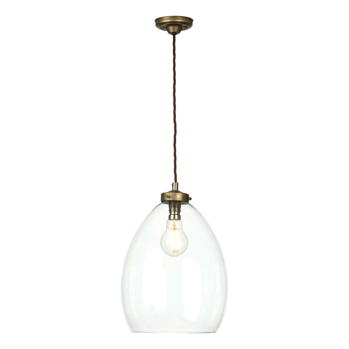 Yeovil single small pendant in antique brass